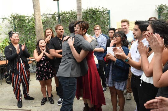 "Lin-Manuel Miranda meets CSU Channel Islands students who had to postpone and shorten their run of Miranda's play ""In the Heights"" due to the Woolsey and Hill fires, just days after some of them lost friends in the shooting at the Borderline Bar & Grill shooting."