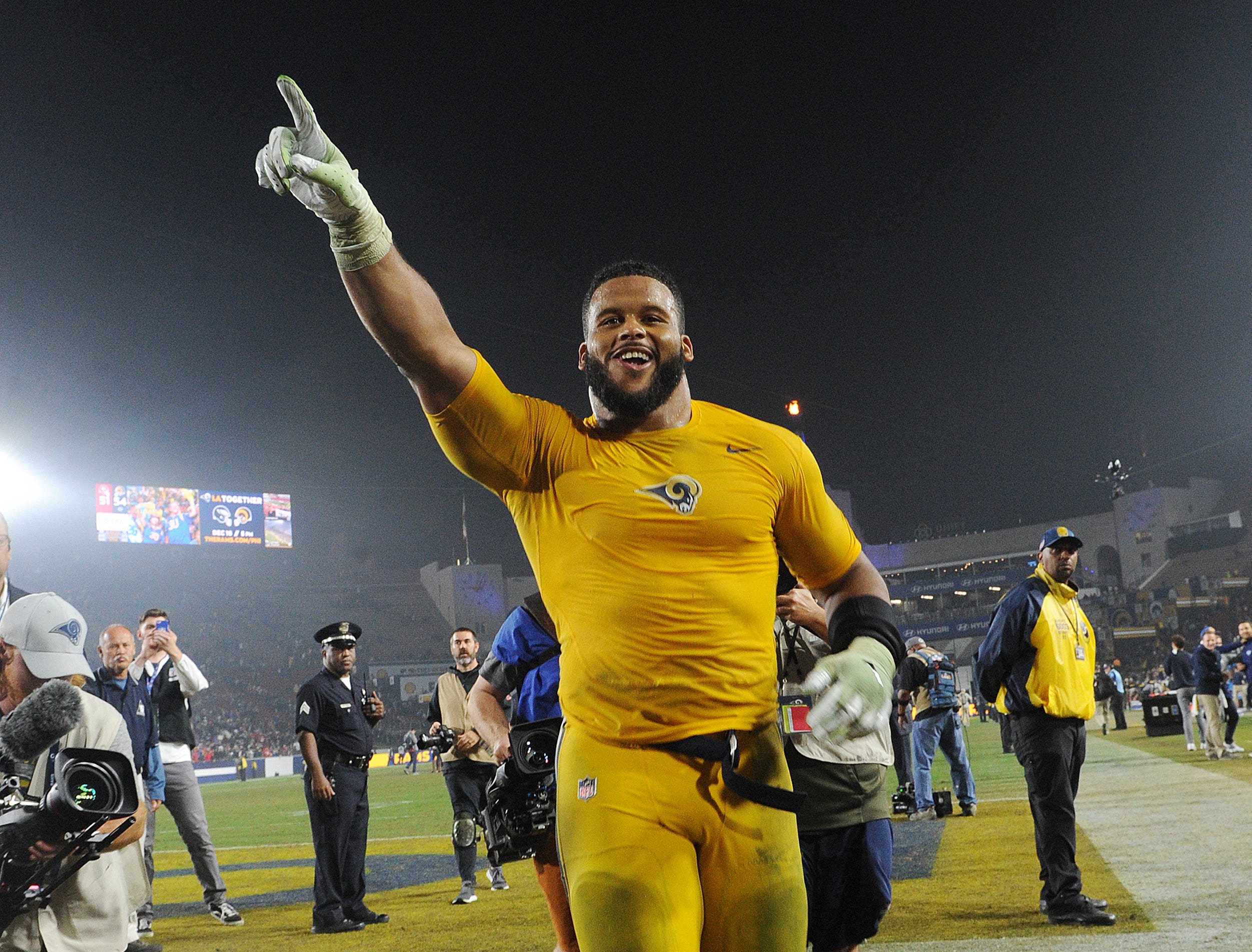 Aaron Donald leaves the field after the Rams improved to a league best 10-1 record.