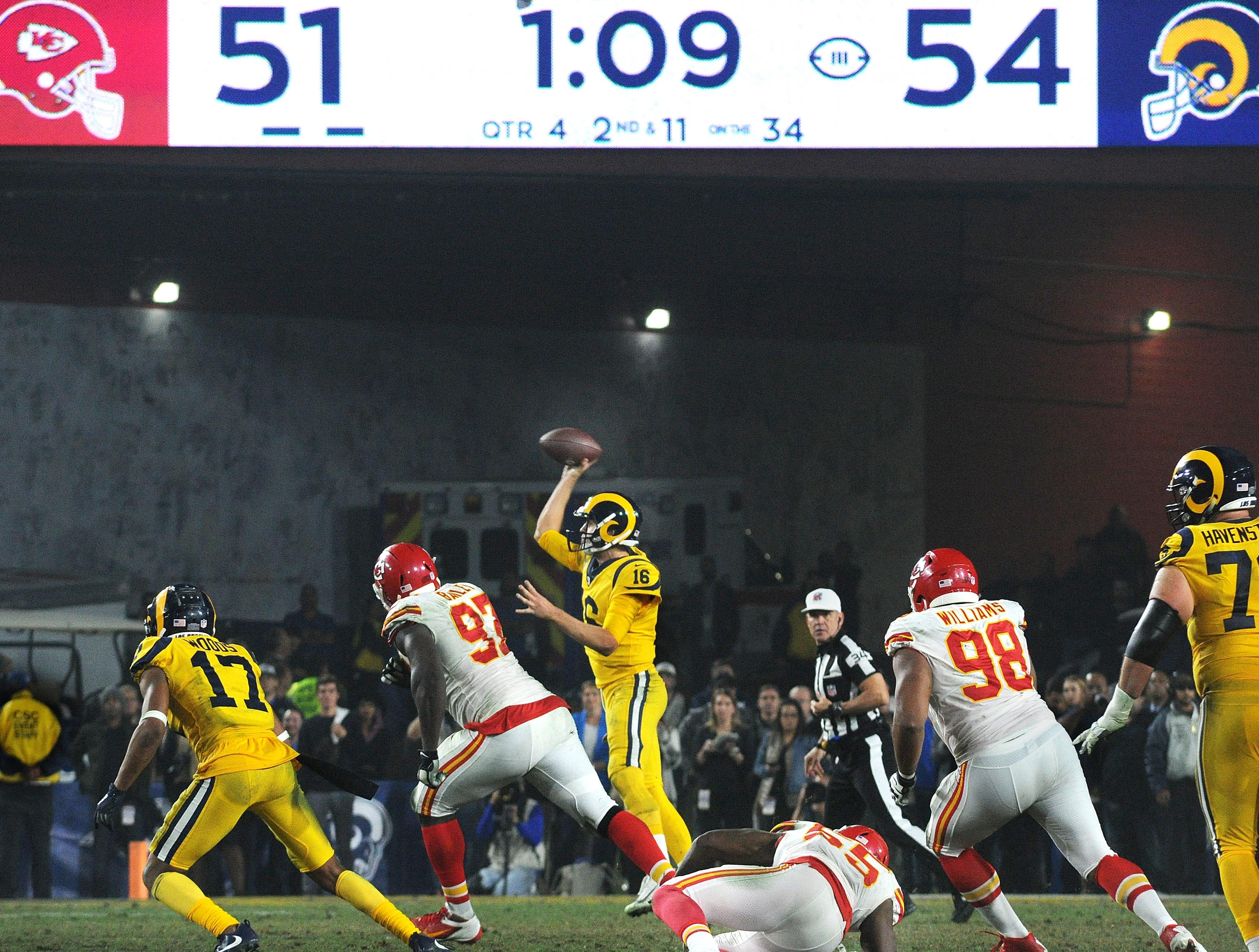 Rams quarterback Jared Goff throws a pass late in the fourth quarter against the Chiefs to win by a score of 54-51 on Monday night.