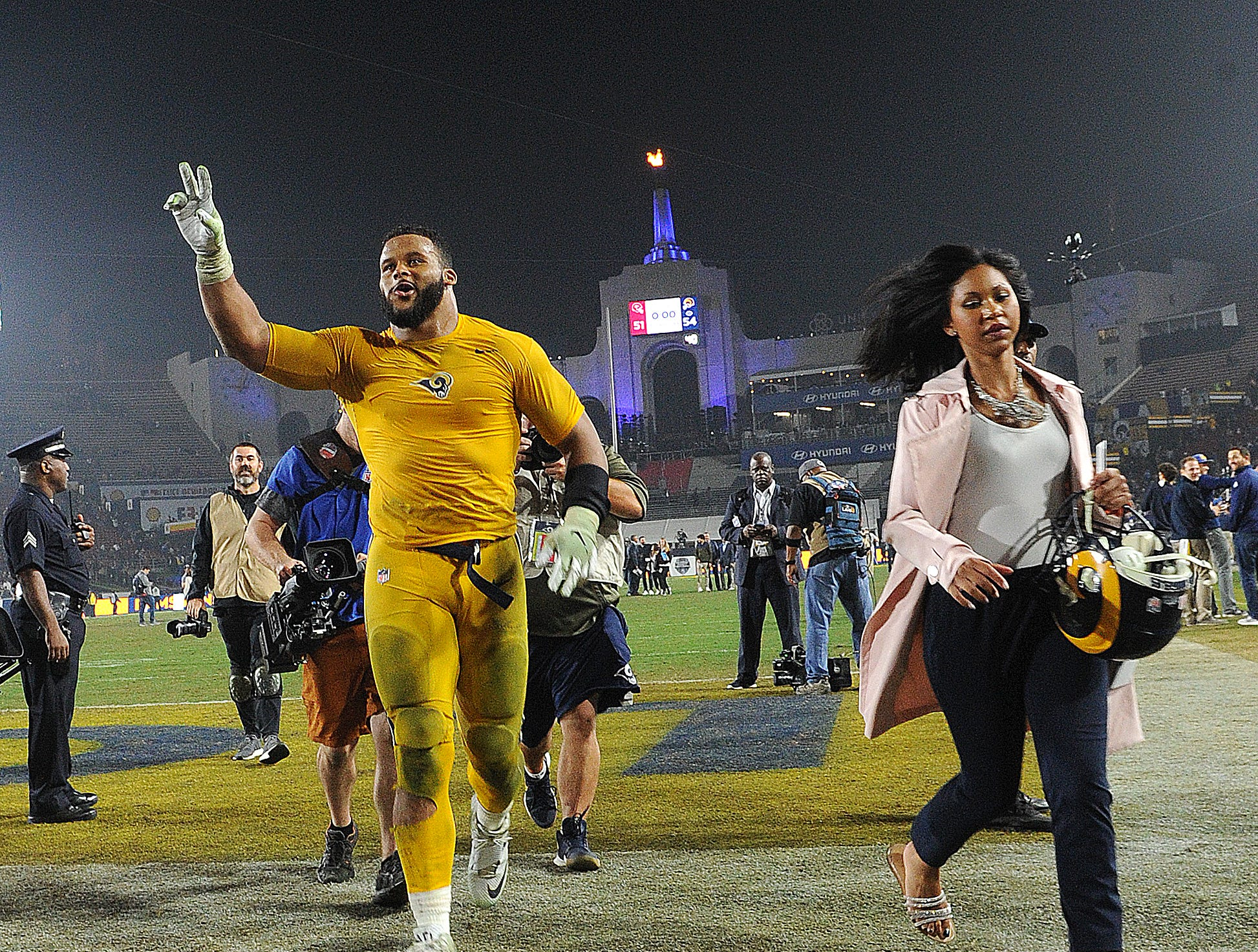 Aaron Donald leaves the field after the Rams improved to a 10-1 record.