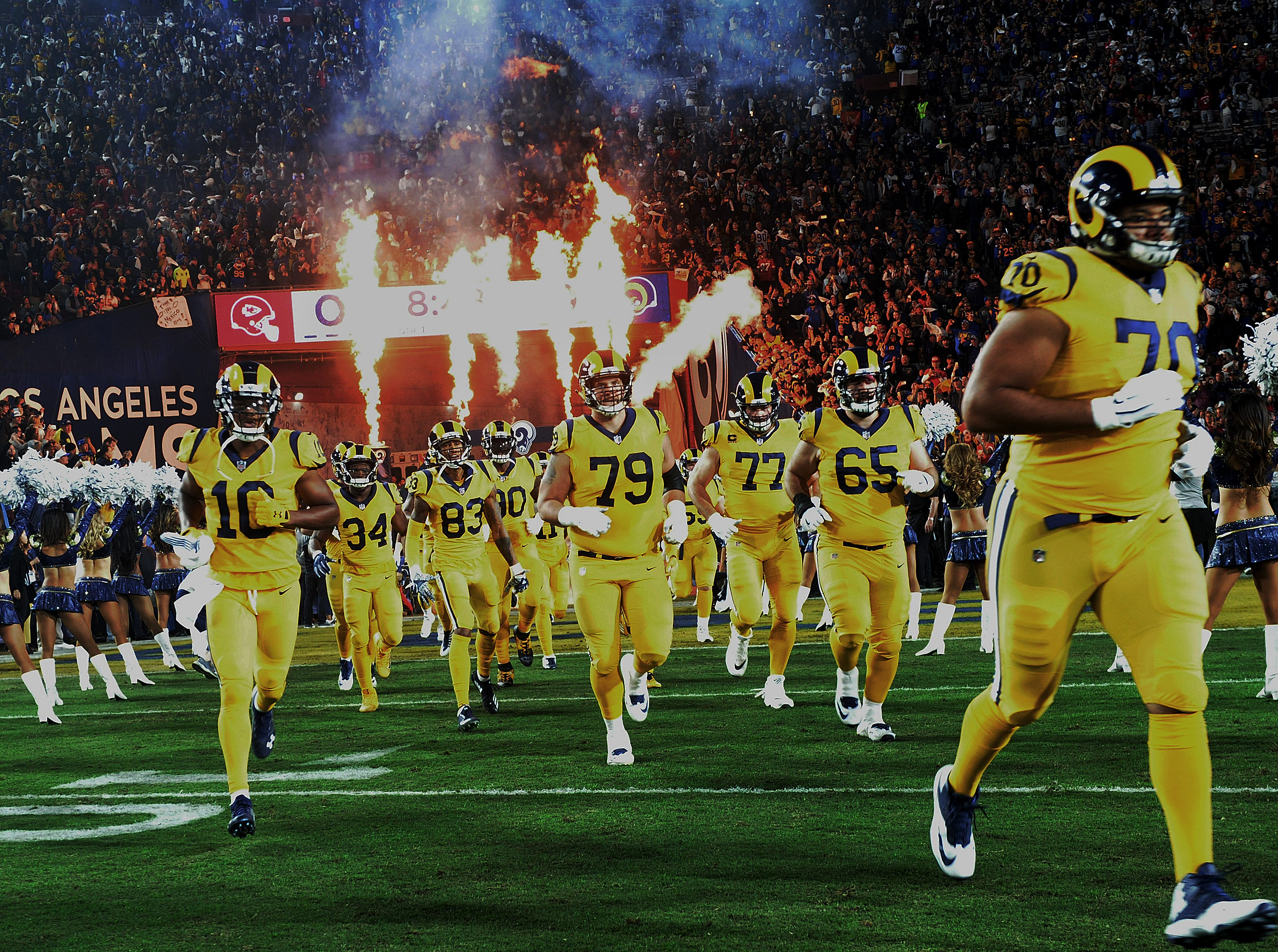 The Rams take the field for Monday night's game against the Chiefs