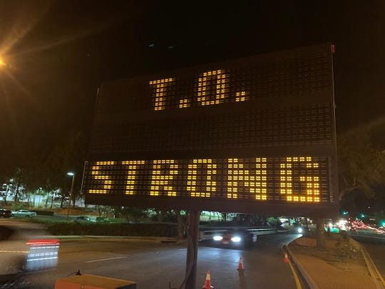 "The community pride slogan ""T.O. Strong"" has emerged in the wake of the Borderline shooting and  Woolsey and Hill fires, and the city has put up a few electronic signs on major streets displaying it."