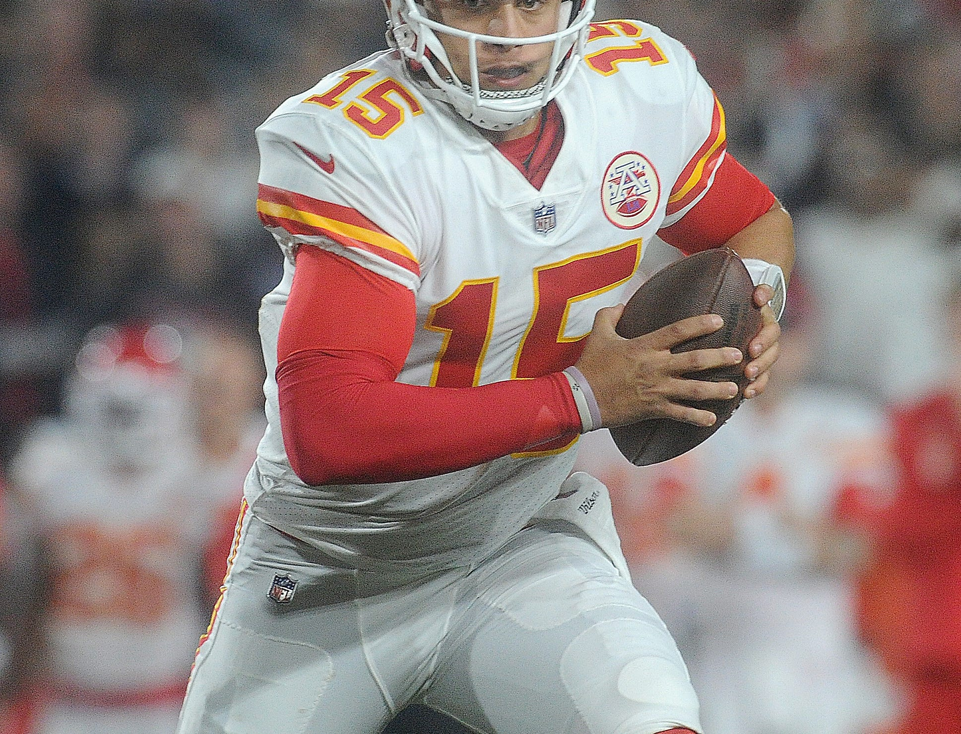The Chiefs' Patrick Mahomes looks for a receiver against the Rams on Monday night. Mahomes completed 33 of 46 passes for 478 yards and six touchdowns with three interceptions.