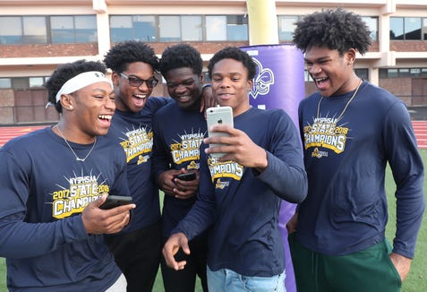 From left, New Rochelle football players, Omari Walker, Jordan Forrest,  Kayshaun Thomas, Jessie Parson and Halim Dixon-King, have some fun before practice at New Rochelle High School Nov. 20, 2018.