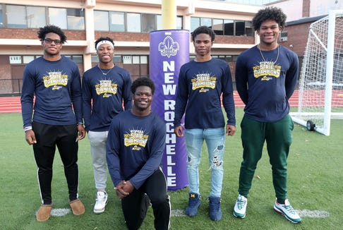 From left, New Rochelle football players, Jordan Forrest, Omari Walker, Kayshaun Thomas, Jessie Parson and Halim Dixon-King, at New Rochelle High School before practice Nov. 20, 2018.