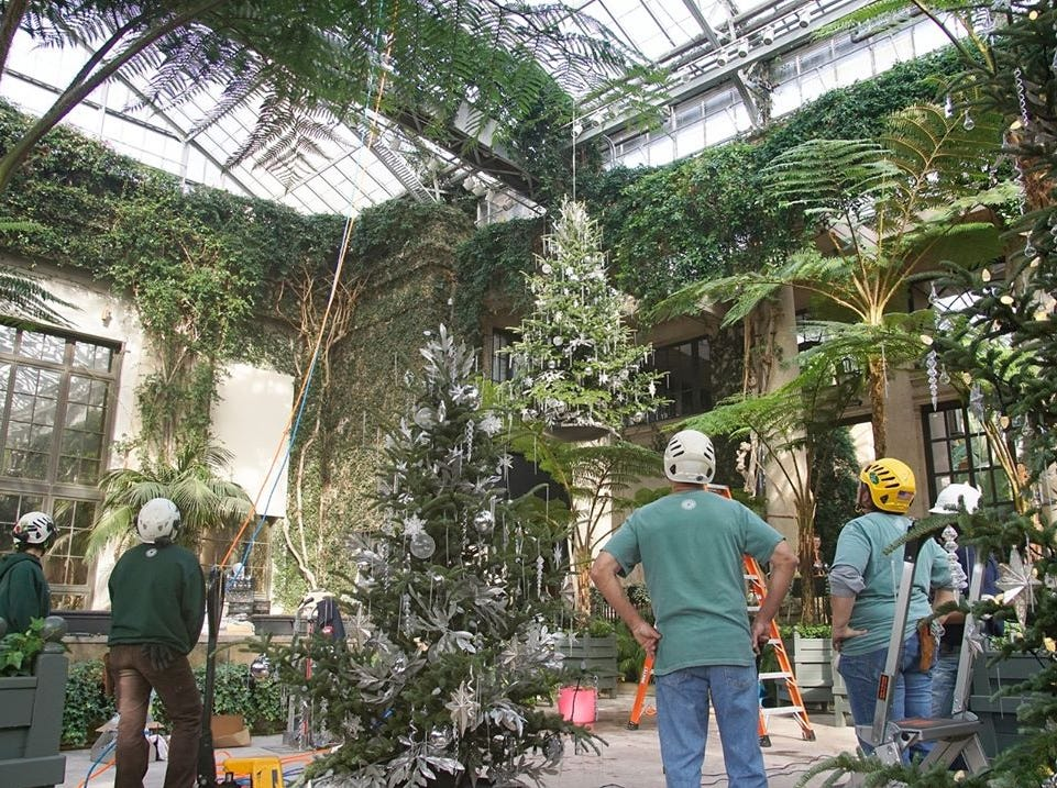 Every Christmas, Longwood's 4-acre conservatory is transformed into a winter wonderland and the epicenter of the display is the Exhibition Hall.