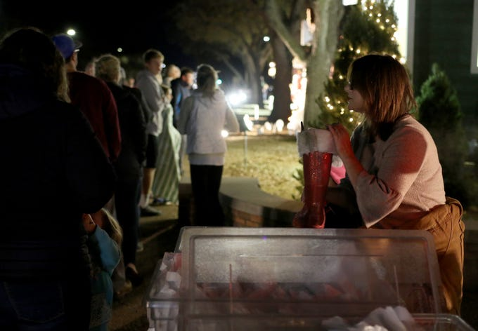 The Work Services Center handed at free cookies and hot chocolate at Fantasy of Lights Tuesday, Nov. 20, 2018, in the Midwestern State University front lawn.