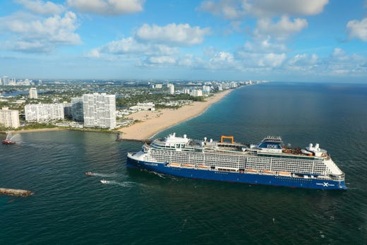The first new Celebrity Cruises ship in six years, Celebrity Edge, arrived in the USA on Nov. 19, 2018, in advance of its first sailing with passengers.