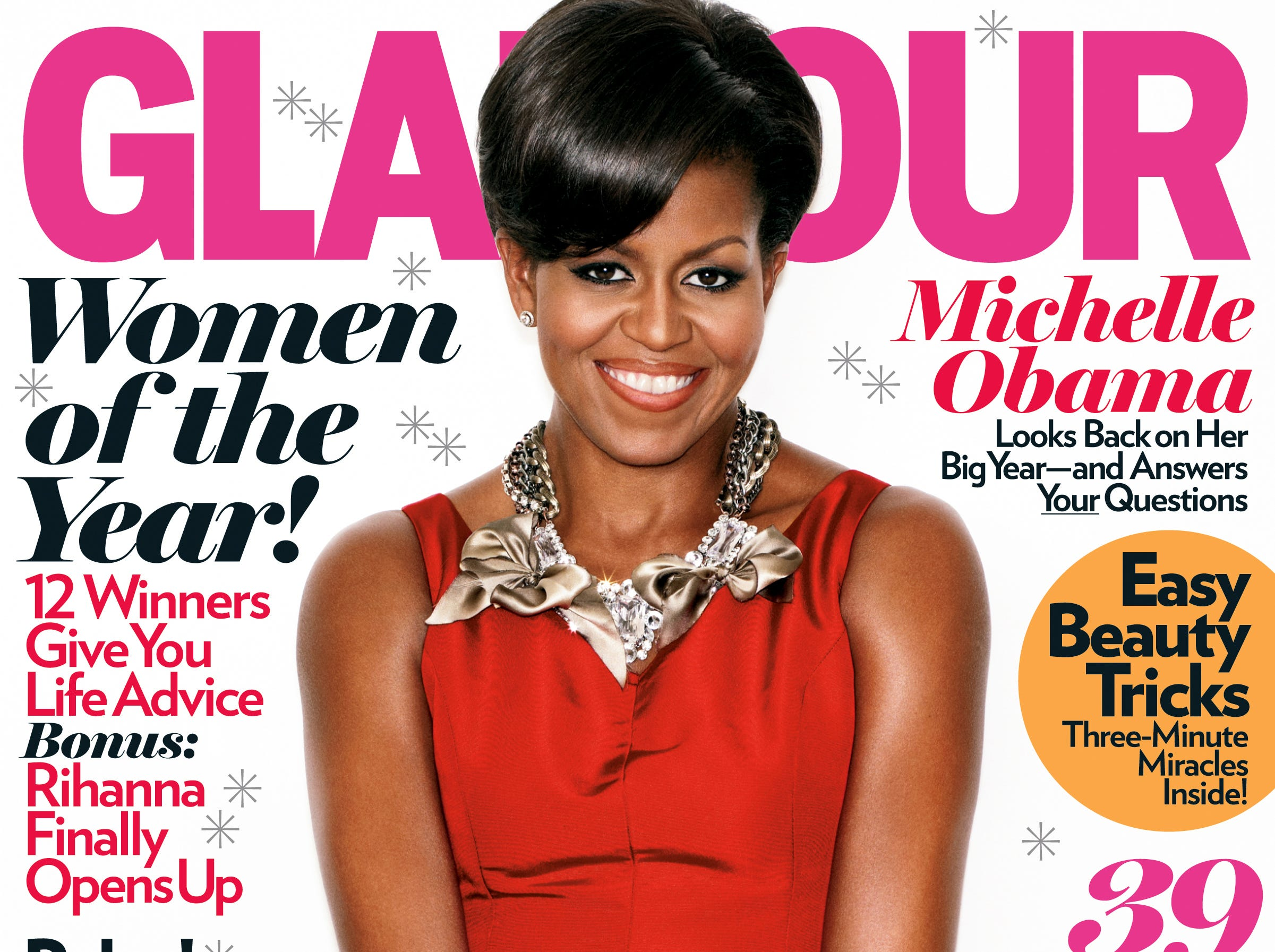 Michelle Obama was photographed by Matthias Vriens-McGrath for one of five celebratory Women of the Year covers of Glamour magazine.