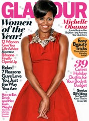 Michelle Obama on one of five celebratory women of the Year covers of Glamor magazine.
