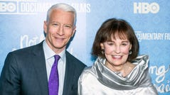 Anderson Cooper and Gloria Vanderbilt on April 4, 2016 in New York City.