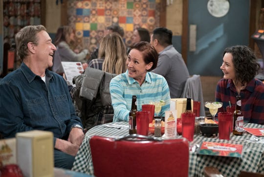 Dan (John Goodman), left, and Jackie (Laurie Metcalf) tease Darlene (Sara Gilbert) about her boyfriend in Tuesday's episode of ABC's 'The Conners.'