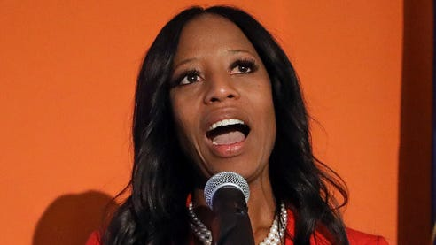Republican U.S. Rep. Mia Love addresses supporters during an Election Night party on Nov. 6 in Lehi, Utah.