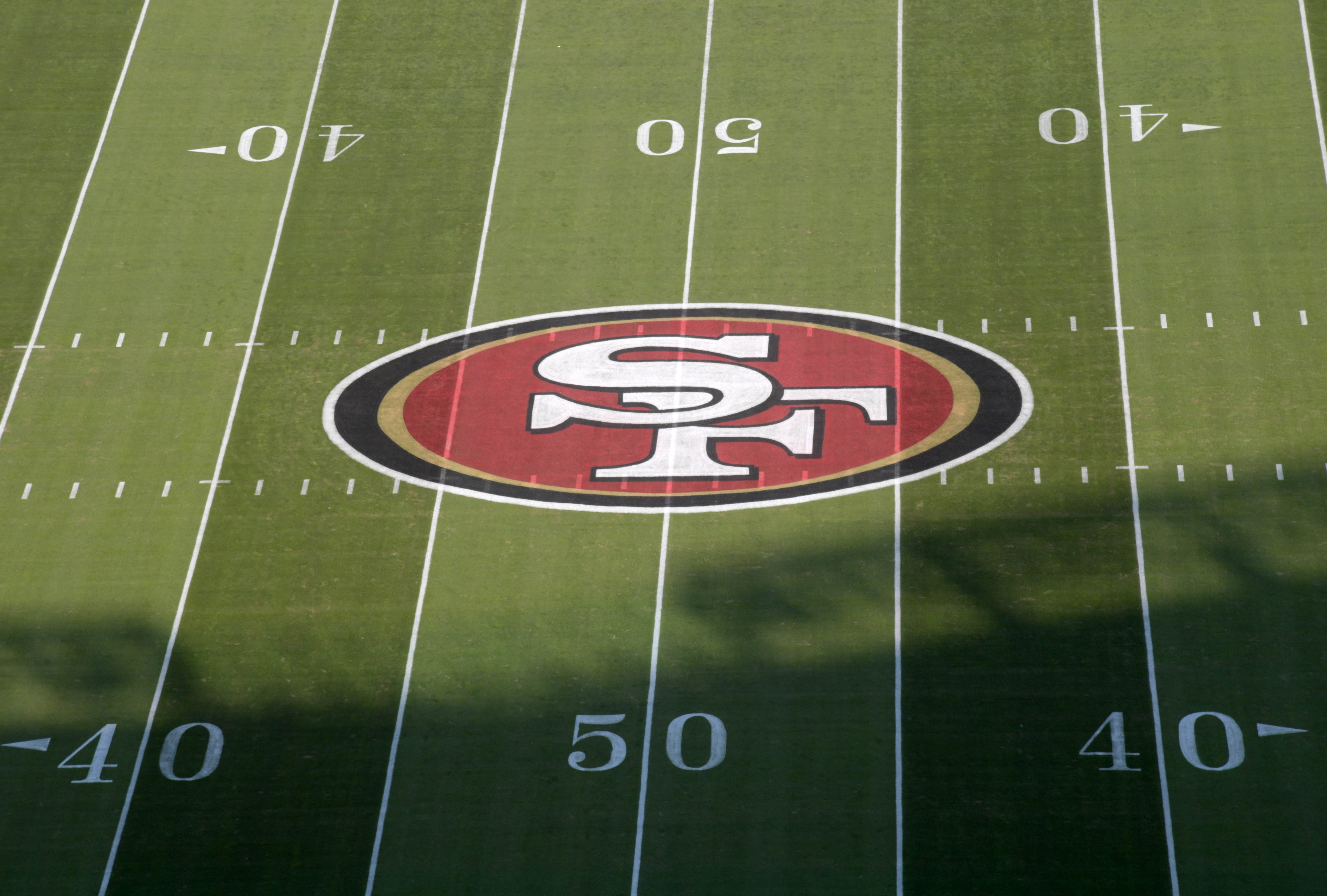 A general view of the San Francisco 49ers logo at midfield at Levi's Stadium.