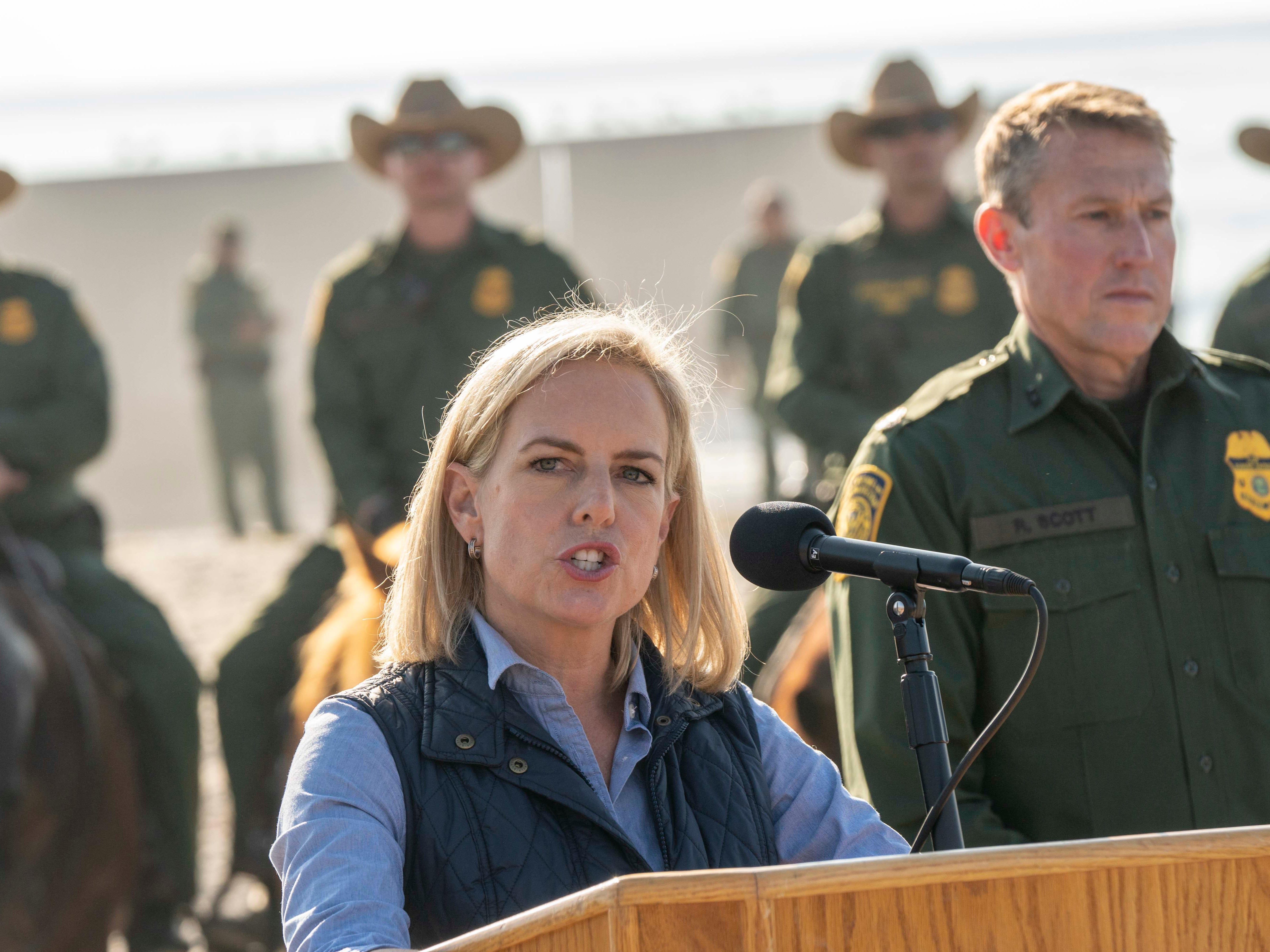 Department of Homeland Security Secretary Kirstjen Nielsen visits the border in San Diego on Nov. 20, 2018.