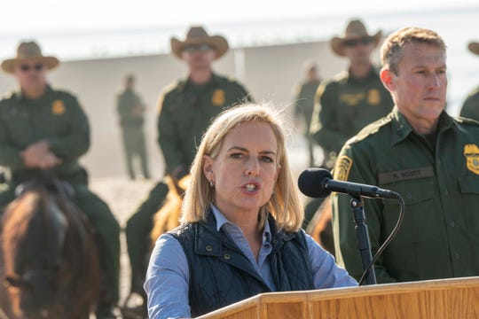 Department of Homeland Security Secretary Kirstjen Nielsen visits the border in San Diego on Nov. 20, 2018.