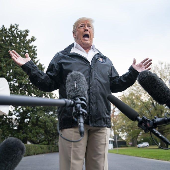 President Donald Trump speaks to the media before departing the White House for California on November 17, 2018.