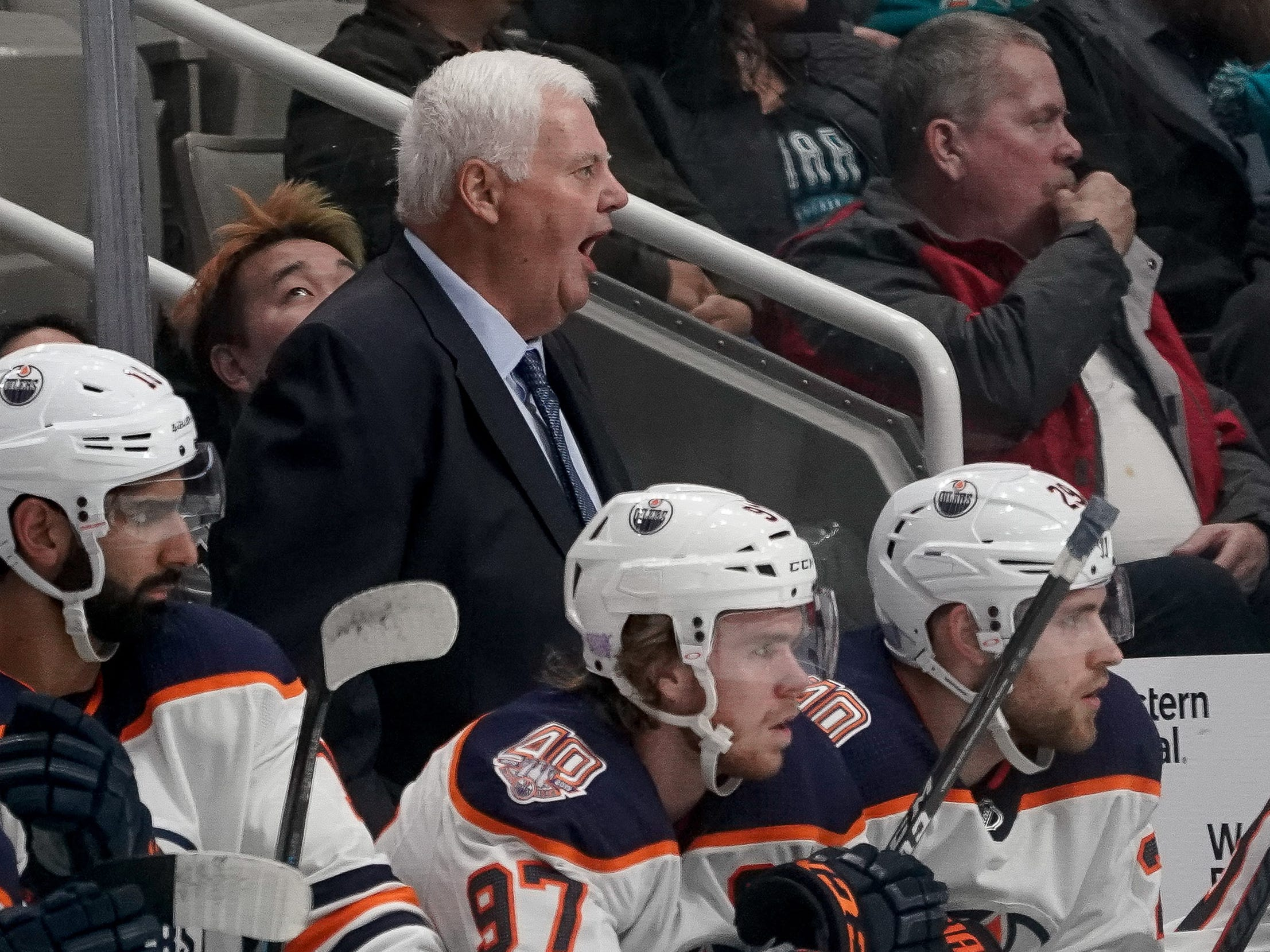 Nov. 20: Edmonton Oilers new head coach Ken Hitchcock yells in a game against the San Jose Sharks. San Jose scored 45 seconds in, but the Oilers rallied to win 4-3 in overtime in Hitchcock's debut.
