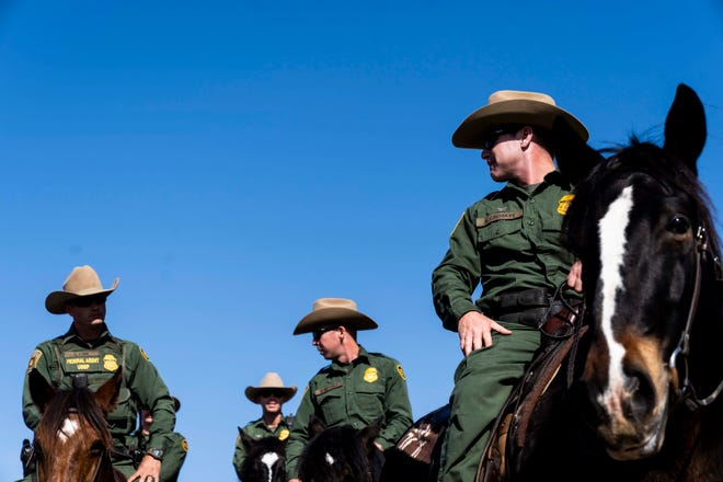 U.S. Customs and Border Protection agents patrol before Department of Homeland Security Secretary Kirstjen Nielsen tours the U.S.-Mexico border in San Diego on Nov. 20, 2018.