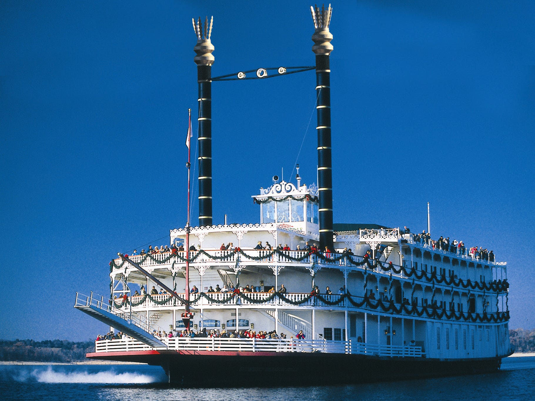 Visitors can take a ride aboard the Showboat Branson Belle, which is run by the Silver Dollar City folks, for a Christmas dinner show.
