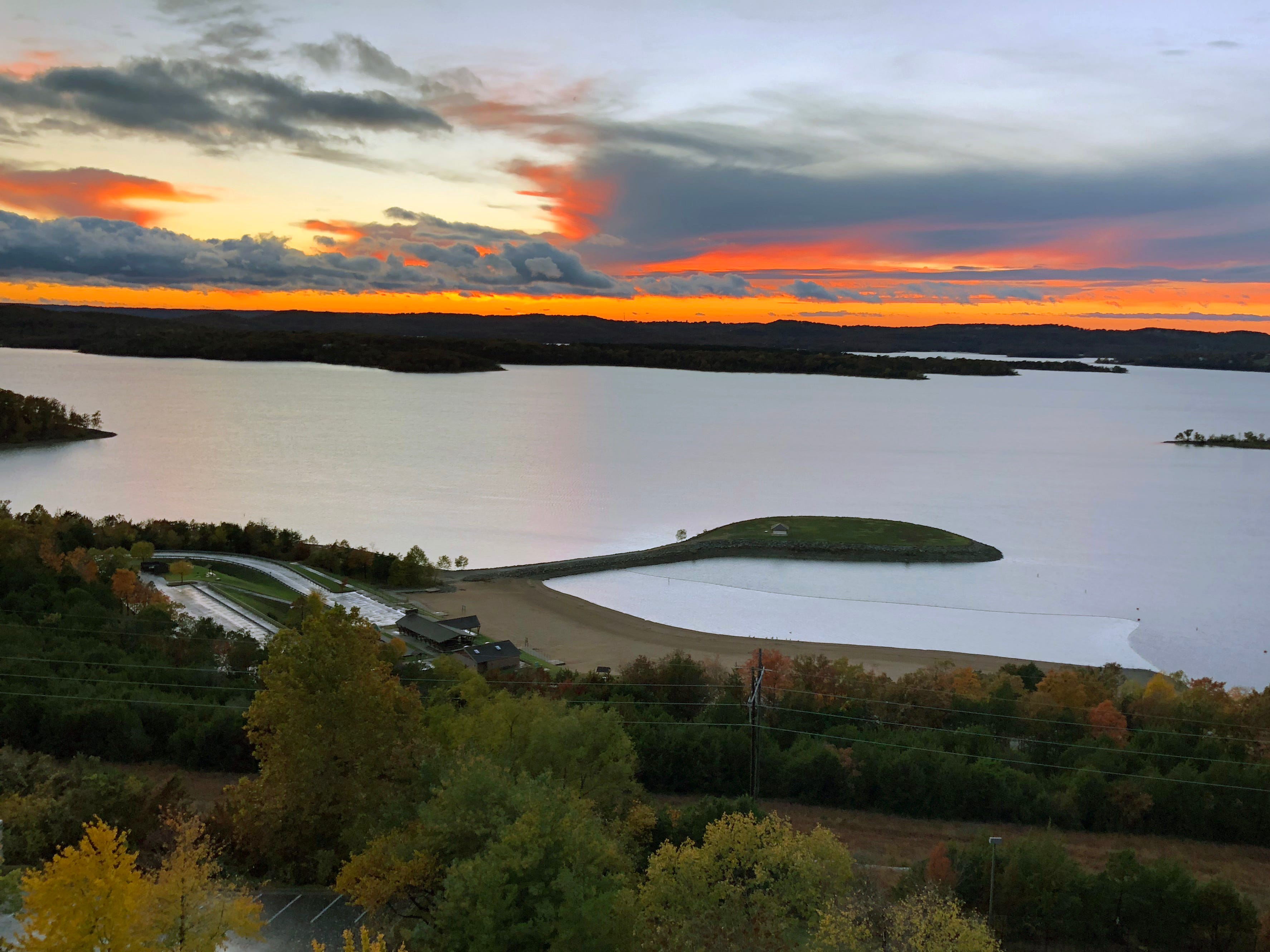 A sunset view of Table Rock Lake from Chateau on the Lake.