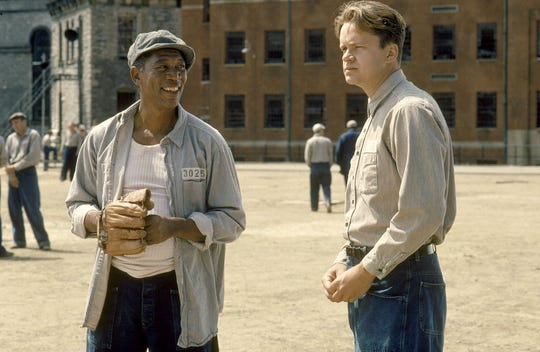 Morgan Freeman, left, and Tim Robbins form a classic inmate partnership in 1994's  'The Shawshank Redemption.'