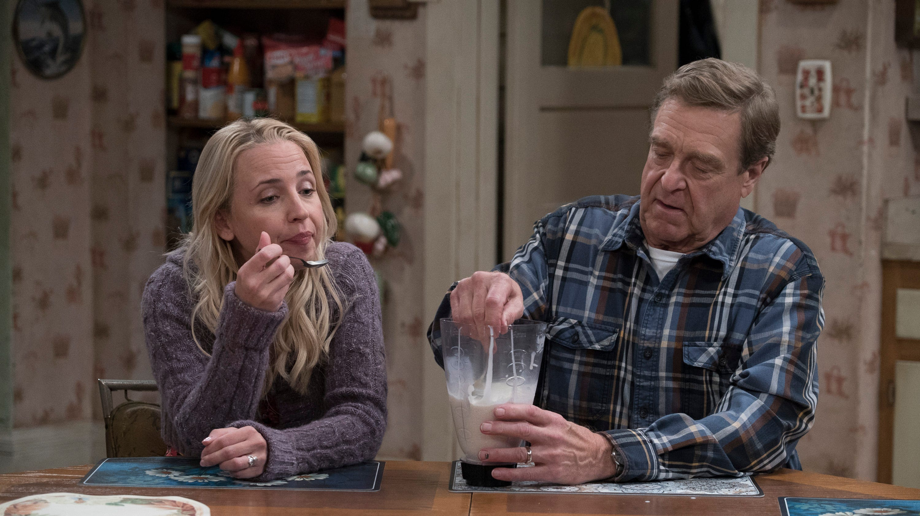 Becky Conner (Lecy Goranson), left, and her father, Dan (John Goodman), have big family news to talk about in Tuesday's episode of ABC's 'The Conners.'