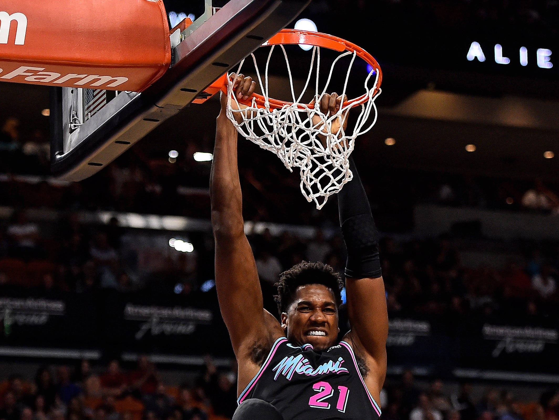 Nov. 20: Miami Heat center Hassan Whiteside finishes a dunk against the Brooklyn Nets during the first half at American Airlines Arena.