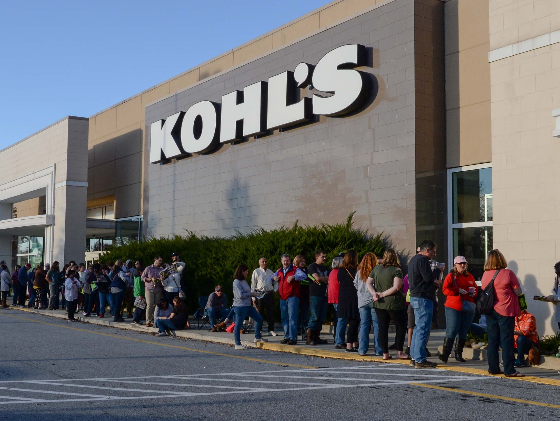 Nearly 250 people lined up before the doors opened at 5 p.m. for Black Friday sales at Kohl's in Anderson on Thanksgiving Day, Thursday, November 22, 2018.
