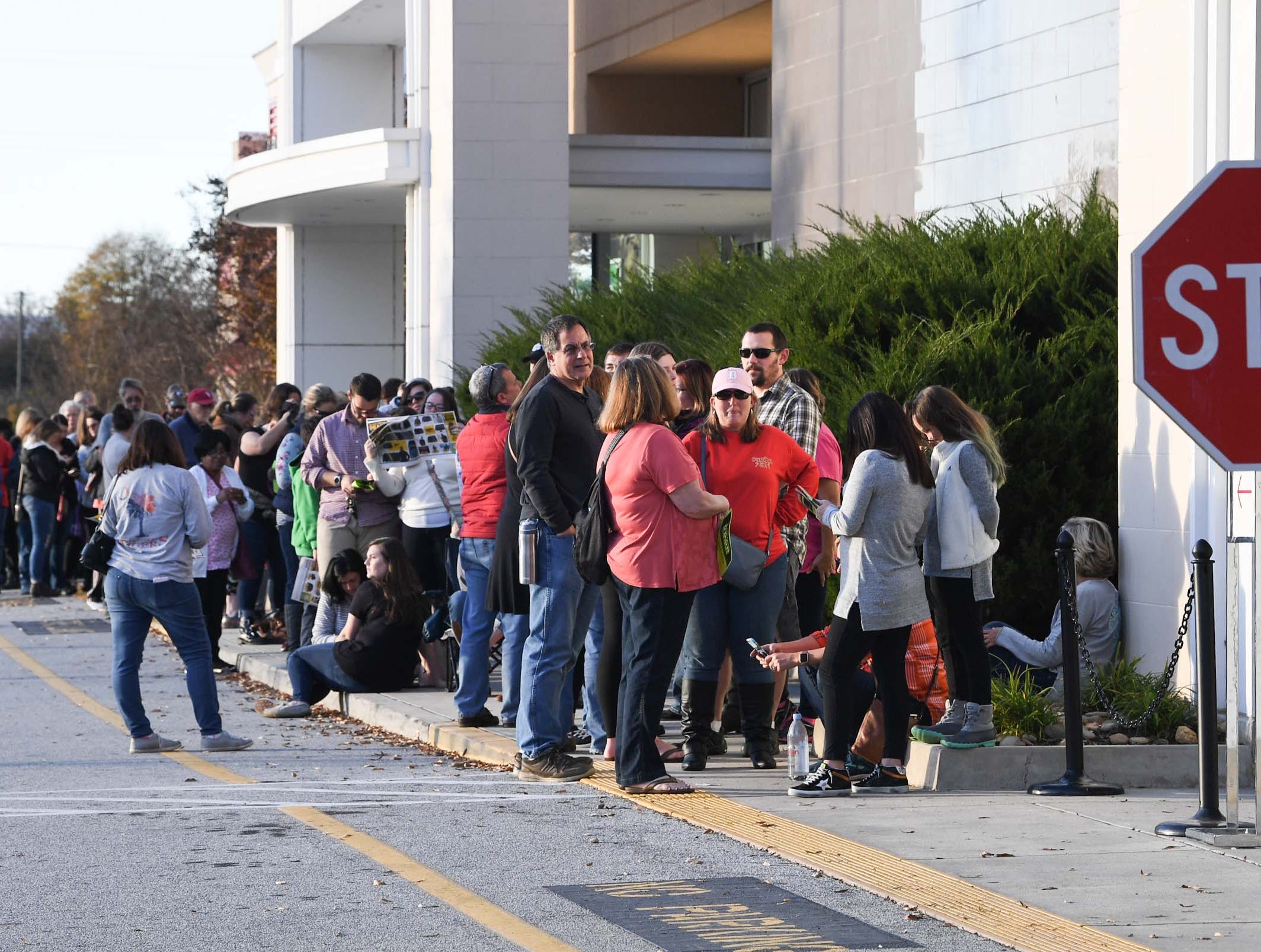 People wait in line for doors to open for Black Friday sales at Kohl's in Anderson on Thanksgiving Day, Thursday, November 22, 2018.