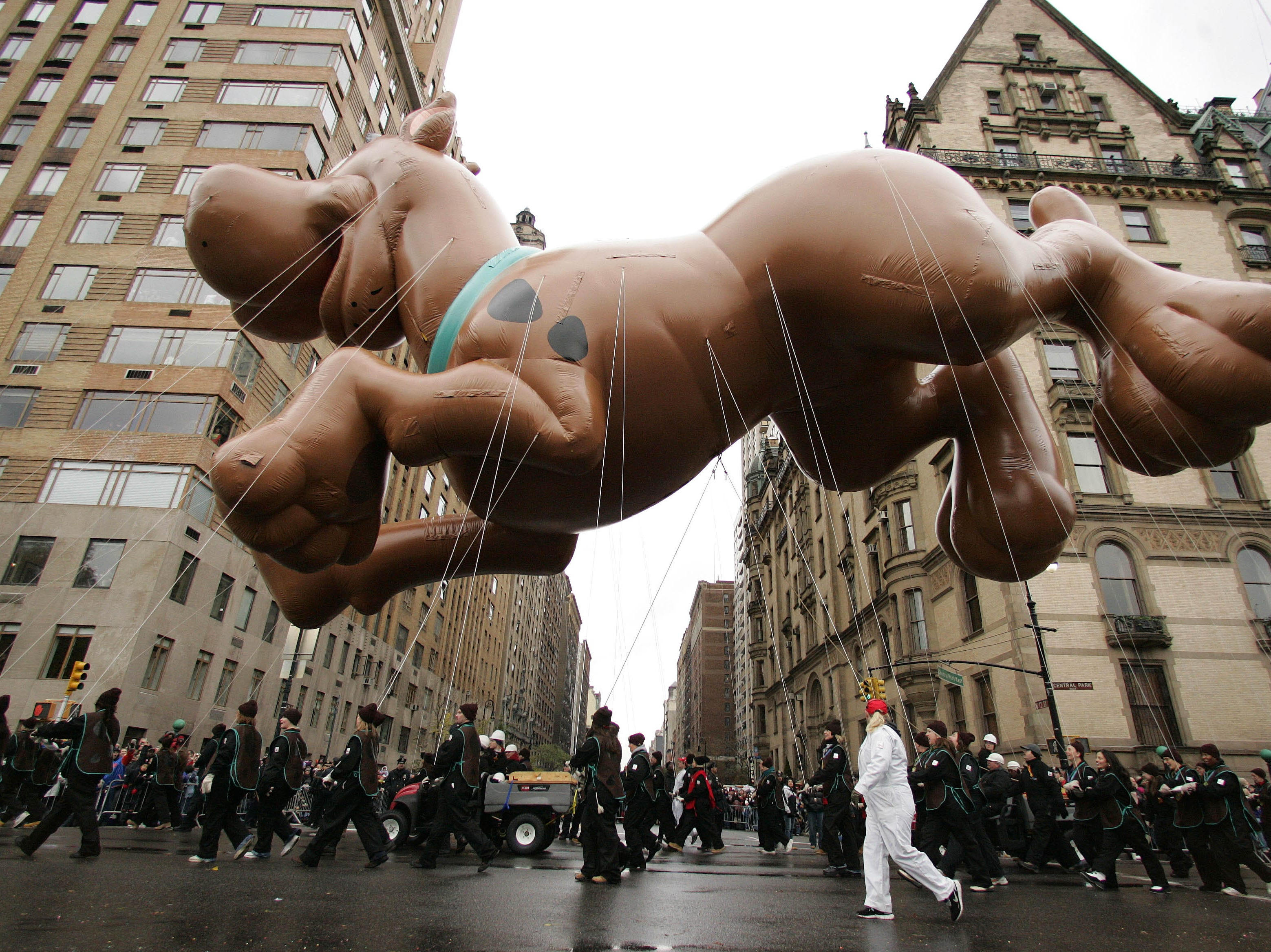 The Scooby Doo balloon hangs over Central Park West as it is pulled through the Macy's Thanksgiving Day Parade Thursday, Nov. 24, 2005 in New York. (AP Photo/Julie Jacobson)