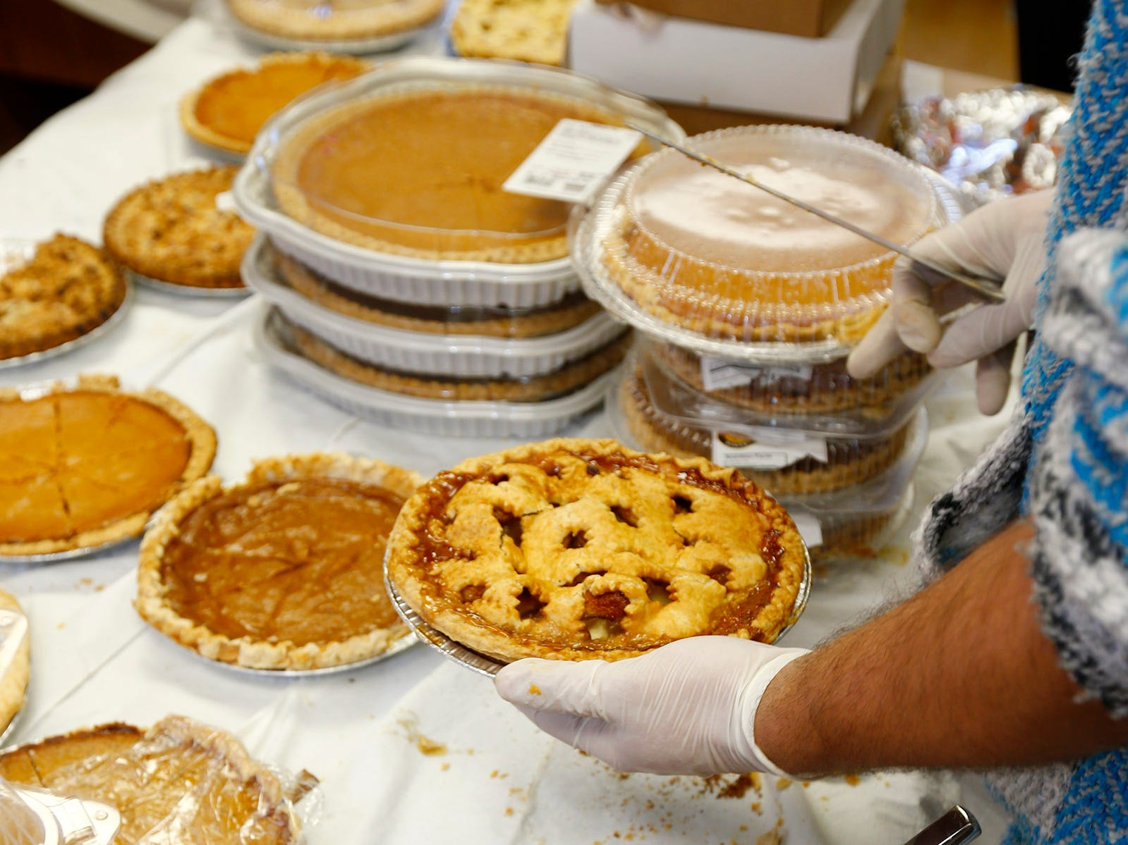 Pies are plentiful at The Church of the Epiphany in Brick as they prepare and deliver meals to over 1,200 people in Monmouth and Ocean counties on Thanksgiving Day, November 22, 2018.