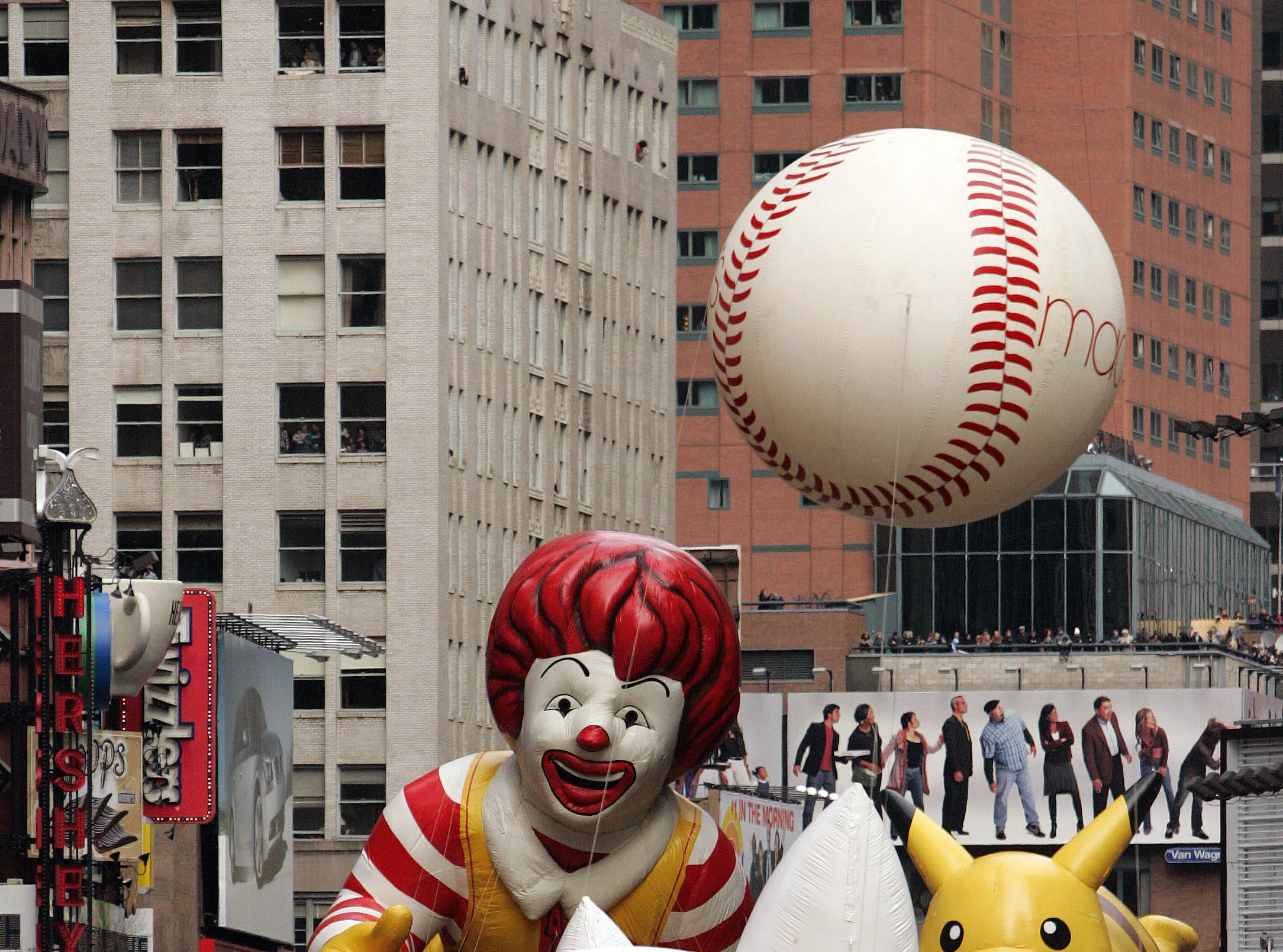 The Ronald McDonald balloon makes its way down Broadway towards Times Square during the Macy's Thanksgiving Day Parade Thursday, Nov. 24, 2005 in New York. (AP Photo/Julie Jacobson)
