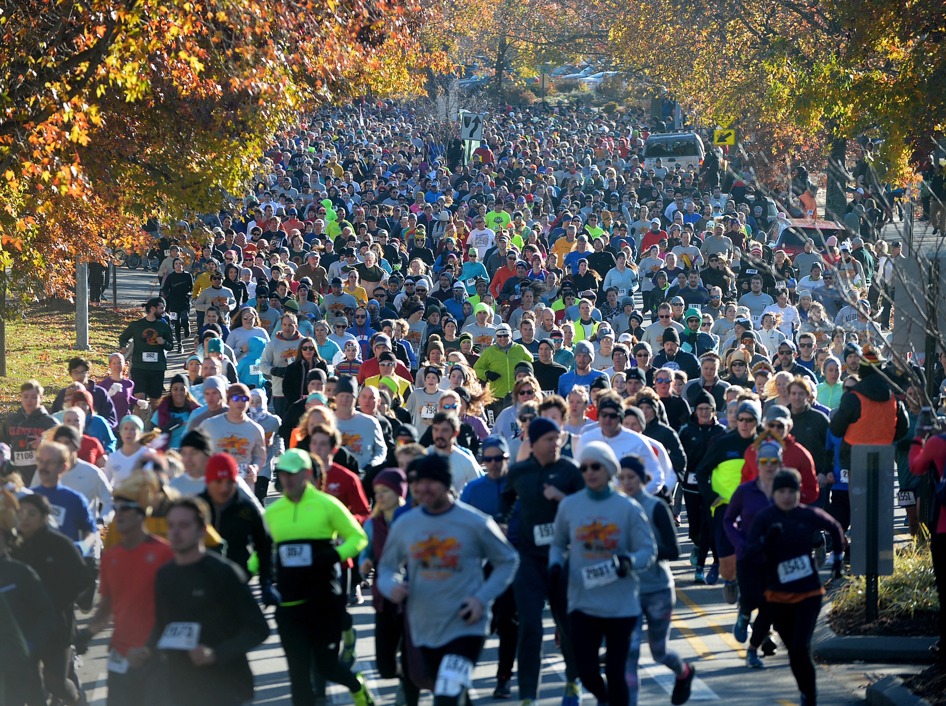 There were about 2,200 runners in the 18th annual Asheville Turkey Trot 5K on Thanksgiving Day Nov. 22, 2018.