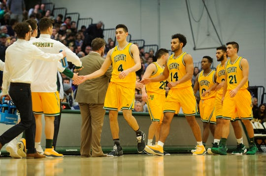 Vermont heads to the bench for a time out during the men's basketball game between the Yale Bulldogs and the Vermont Catamounts at Patrick Gym on Wednesday night November 21, 2018 in Burlington.