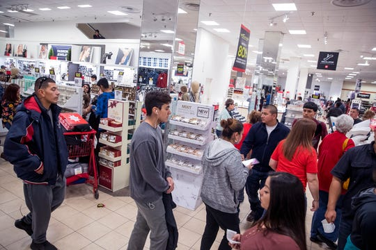 Shoppers hunt for Black Friday bargains at JCPenney in La Palmera Mall on Thursday, November 22, 2018. The store opened at 2 p.m. on Thanksgiving.