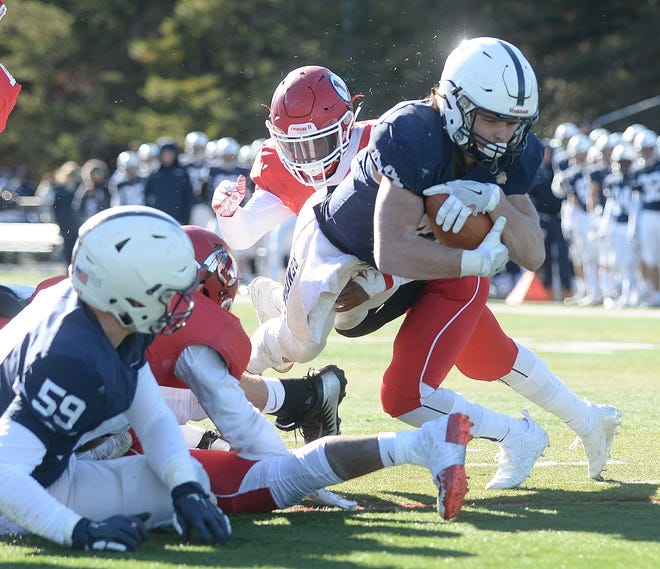 Shawnee's Joe Dalsey dives into the end zone for a touchdown during a win over Lenape on Thursday.
