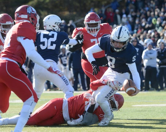 Shawnee's Matt Welsey stretches for the goal line during the Thanksgiving Day football game against Lenape at Shawnee High School, Thursday, Nov. 22, 2018.