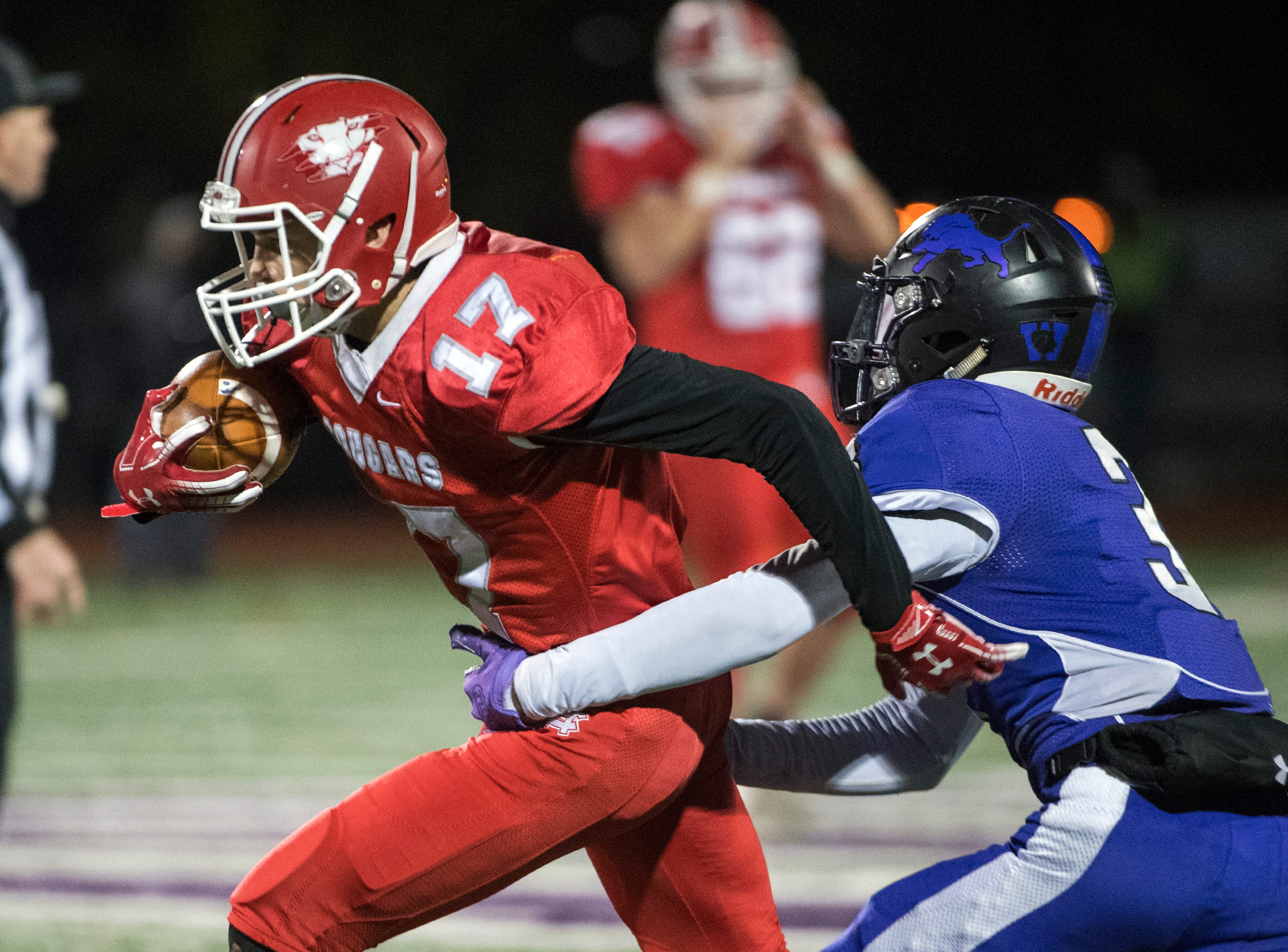 East's Sean Welsh (17) rushes during an annual East-West game Wednesday, Nov. 21, 2018 at Cherry Hill West High School in Cherry Hill, N.J. West won 22-7.