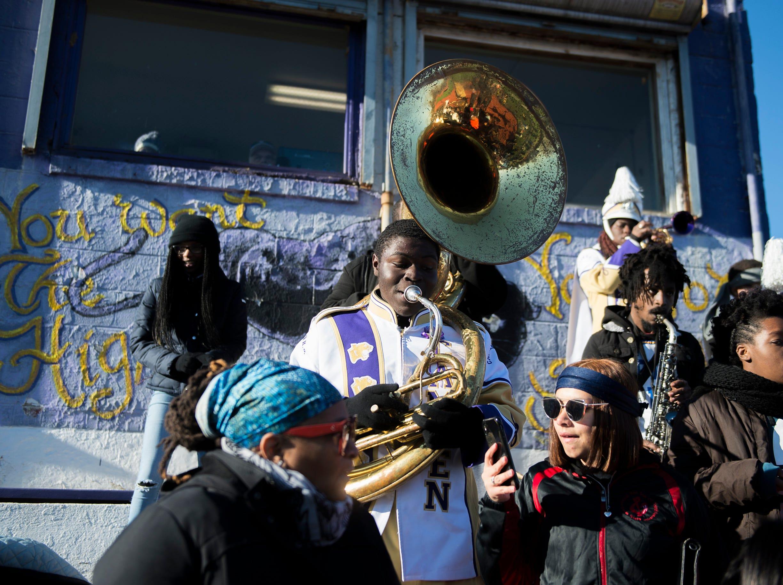 The Camden band plays during an annual Camden-Woodrow Wilson Thanksgiving game Thursday, Nov. 22, 2018 in Camden, N.J. Camden won 39-28.