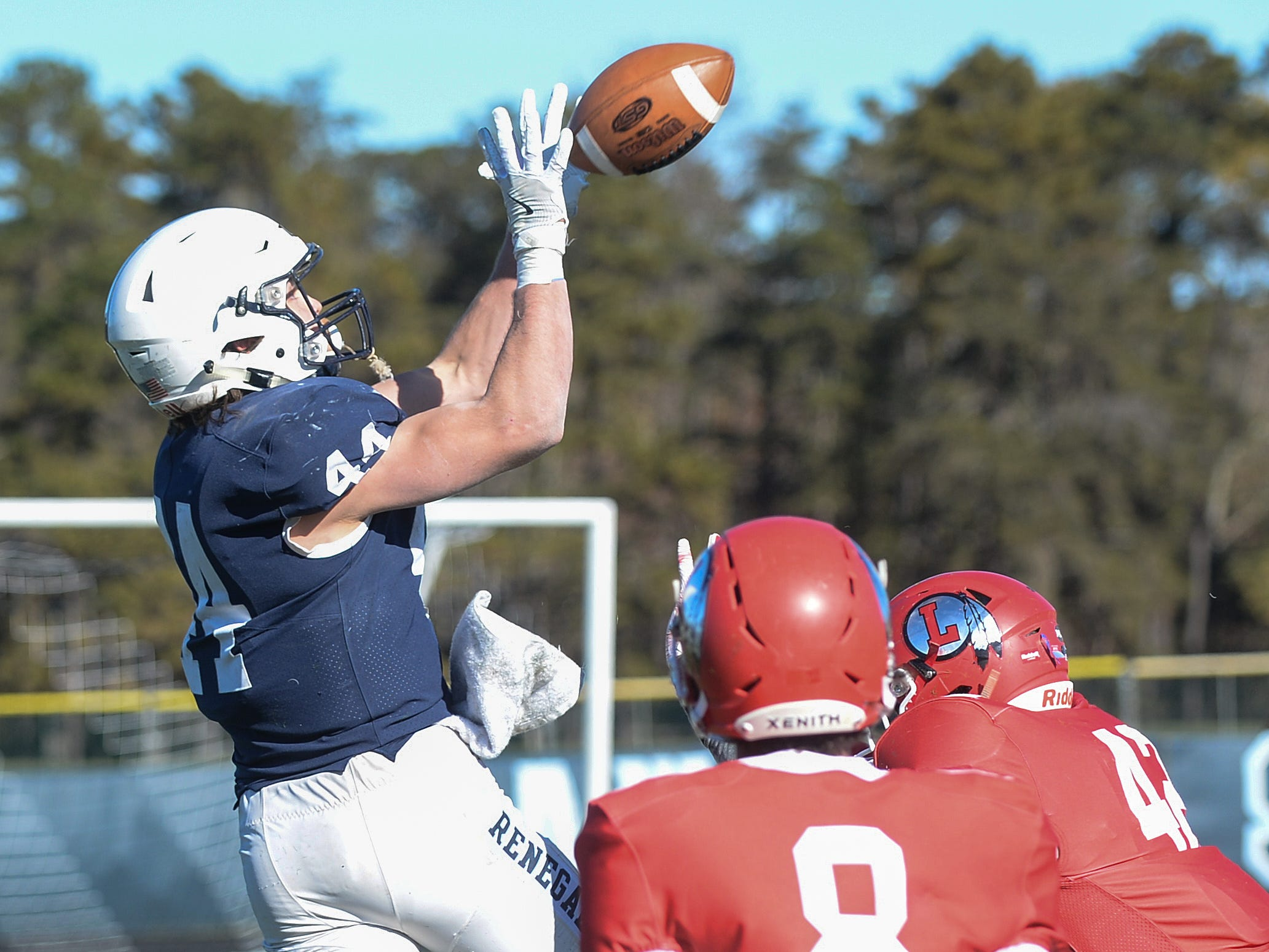 Shawnee's Joey Dalsey catches a touchdown pass during the Thanksgiving Day football game against Lenape at Shawnee High School, Thursday, Nov. 22, 2018.