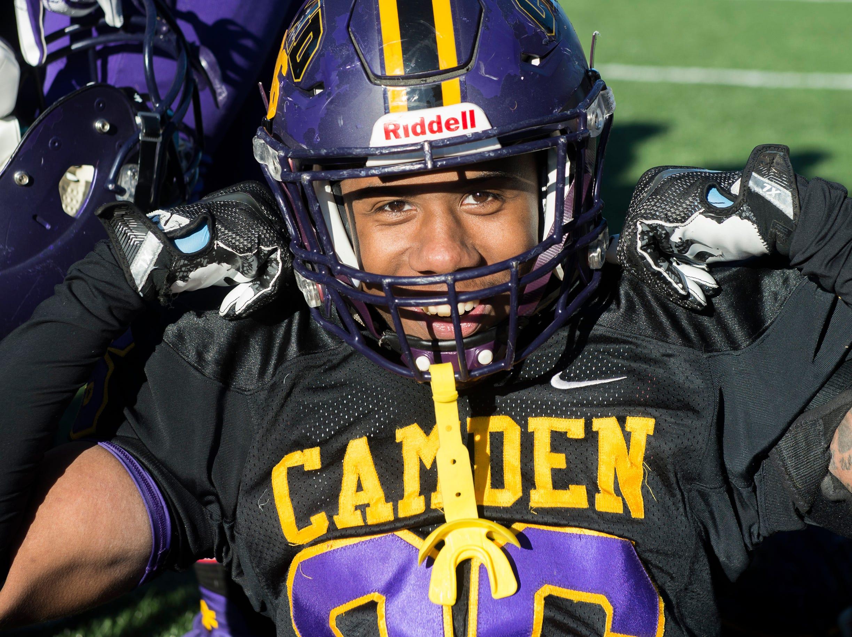 Camden's Marc Venable (36) poses following an annual Camden-Woodrow Wilson Thanksgiving game Thursday, Nov. 22, 2018 in Camden, N.J. Camden won 39-28.