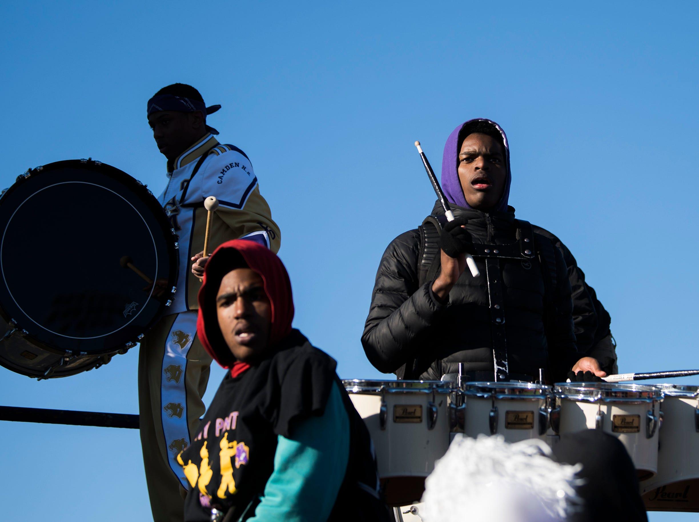 The Camden marching band plays during an annual Camden-Woodrow Wilson Thanksgiving game Thursday, Nov. 22, 2018 in Camden, N.J. Camden won 39-28.