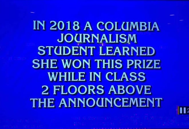 A former Enquirer intern was mentioned in a Jeopardy clue on Nov. 21.