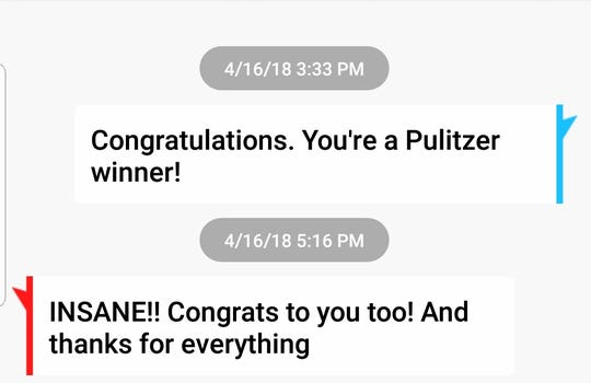 Screenshot of text messages between former Enquirer intern Mariel Padilla and editor Bob Strickley.