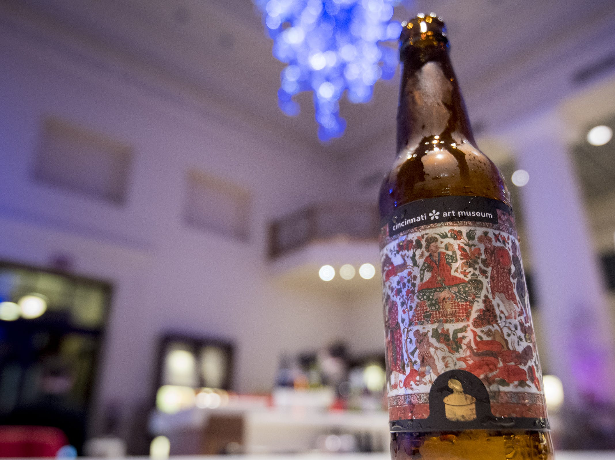 The Cincinnati Art Museum offers their beer in collaboration with Listermann Brewing, Sari not Sorry, during Art After Dark Wednesday, November 21, 2018 in Cincinnati, Ohio. The curry stout is a limited release to celebrate the exhibit the Fabric of India.