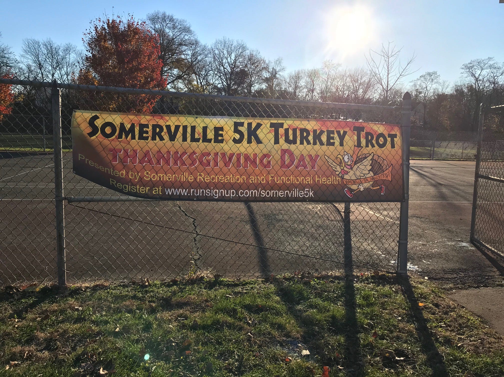 The sign for the Somerville 5K Turkey Trot on Thanksgiving Day