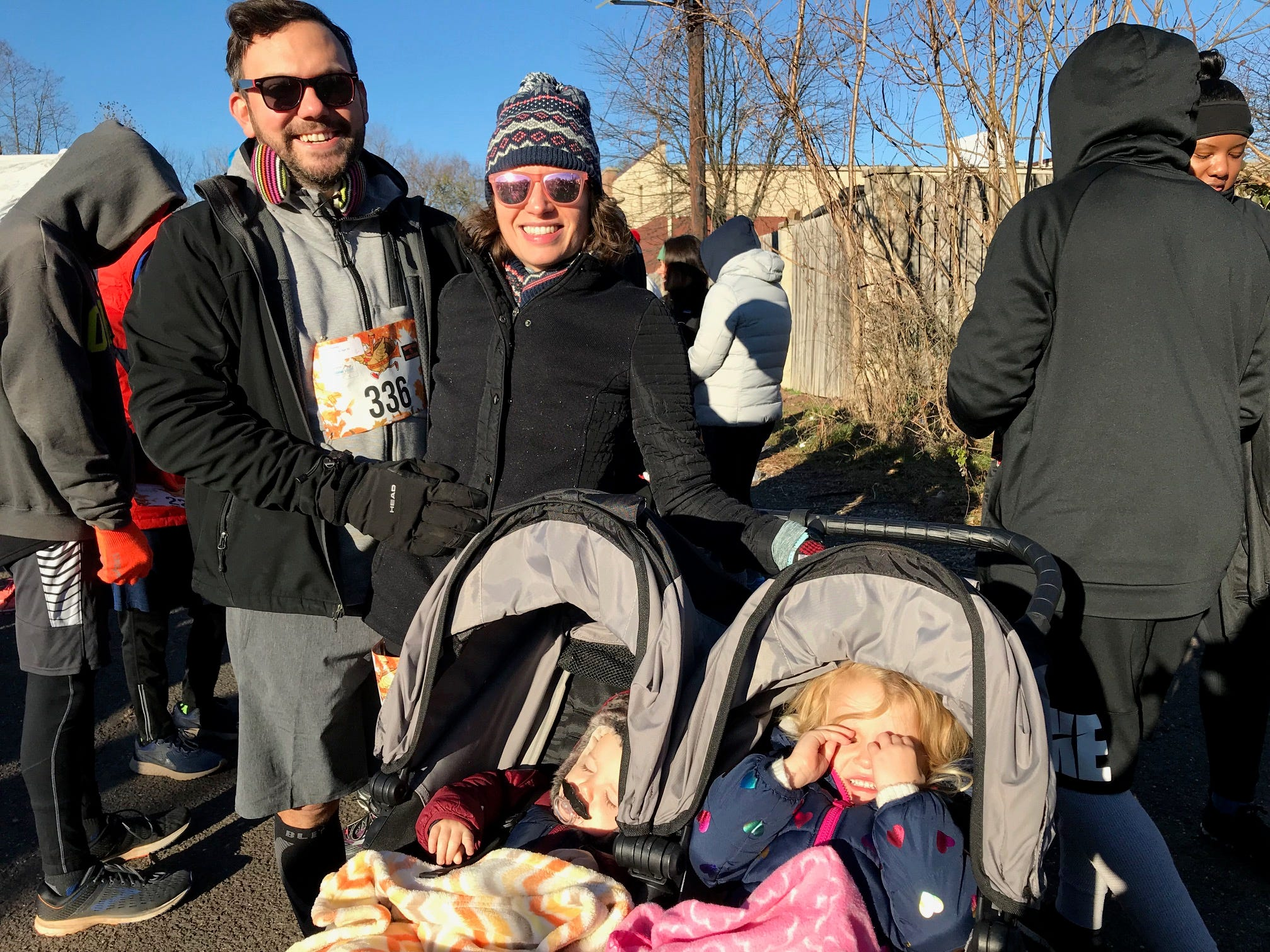 Since she doesn't have to cook this year Tina Kennedy came out to run the Somerville Turkey Trot with her husband and two children.