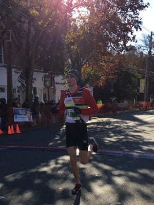 A runner from the 26th annual CEA/Johanna Foods Turkey Trot 5K Run and 2-mile Fitness Walk in Flemington