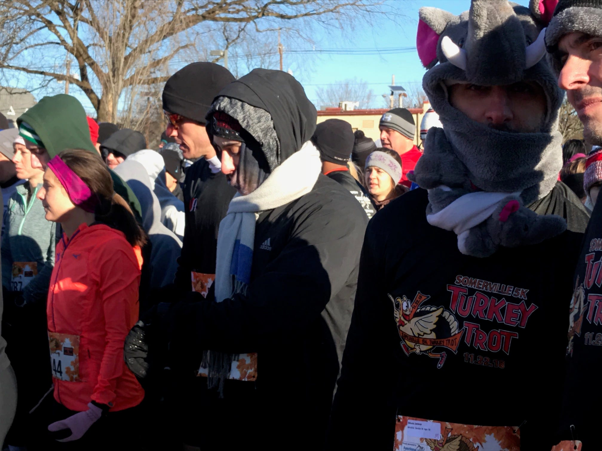 Runners are bundled up at the start of the Somerville Turkey Trot on Thanksgiving Day.